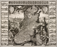 Netherlands, Comic & Anthropomorphic and Curiosities Map By Claes Janszoon Visscher