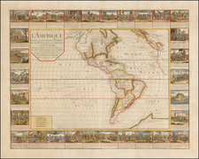 Western Hemisphere, South America and America Map By Gaspar Baillieul