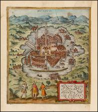 Mexico Map By Georg Braun  &  Frans Hogenberg