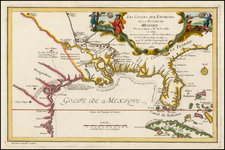 South, Southeast, Texas, Midwest and Southwest Map By Nicolas de Fer
