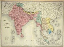 Asia, India and Southeast Asia Map By Adolphe Hippolyte Dufour