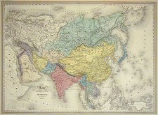 Asia and Asia Map By Adolphe Hippolyte Dufour