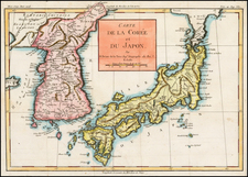 Japan and Korea Map By Louis Brion de la Tour