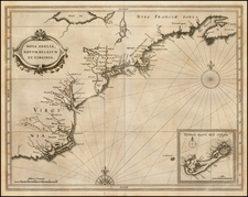 New England, Mid-Atlantic and Southeast Map By Joannes De Laet