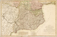 France and Spain Map By Pierre-Nicolas Buret de  Longchamps / Bassett
