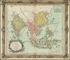 China, India, Southeast Asia and Philippines Map By Louis Brion de la Tour