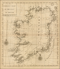 Ireland Map By John Senex / Edmund Halley / Nathaniel Cutler