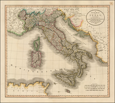 Italy and Balearic Islands Map By John Cary