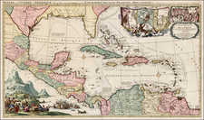 Florida, South, Southeast, Texas, Caribbean and Central America Map By Johannes Covens  &  Pieter Mortier
