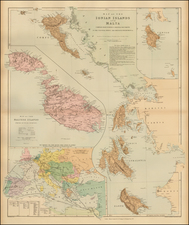 Greece, Balearic Islands and Malta Map By Edward Stanford