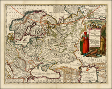 Poland, Russia, Baltic Countries and Scandinavia Map By Jacob Sandrart
