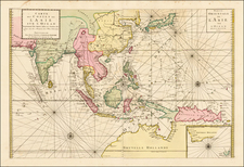 Indian Ocean, China, Japan, Korea, India, Southeast Asia, Philippines and Australia Map By Johannes Covens  &  Cornelis Mortier