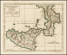 Italy, Southern Italy and Sicily Map By Didier Robert de Vaugondy
