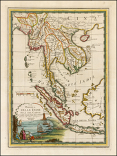 Southeast Asia and Thailand, Cambodia, Vietnam Map By Giovanni Maria Cassini