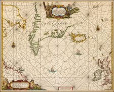 Polar Maps, Atlantic Ocean, Canada, British Isles and Iceland Map By Anthonie (Theunis)   Jacobsz