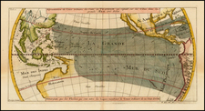 Australia & Oceania, Pacific, Australia, Oceania and California Map By Jacques Nicolas Bellin