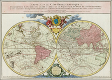 World and World Map By Louis Brion de la Tour / Alexis-Hubert Jaillot
