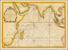 Indian Ocean, India, Southeast Asia, Middle East and Australia Map By Jacques Nicolas Bellin
