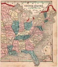 United States, New England and Southeast Map By Sidney Morse  &  Samuel Gaston