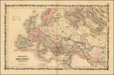 Europe, Europe, Balkans and Mediterranean Map By Alvin Jewett Johnson  &  Browning