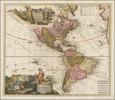 South America and America Map By Adam Friedrich Zurner