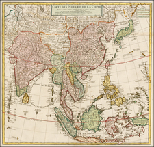 China, Japan, Korea, India, Southeast Asia and Philippines Map By Philippe Buache
