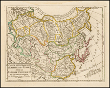 Russia, China, Central Asia & Caucasus and Russia in Asia Map By Didier Robert de Vaugondy