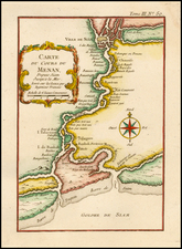 Southeast Asia and Thailand, Cambodia, Vietnam Map By Jacques Nicolas Bellin