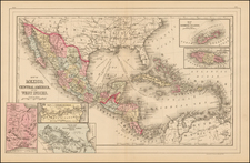 Mexico and Caribbean Map By Samuel Augustus Mitchell Jr.