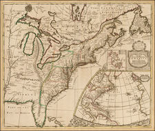 United States, New England, Mid-Atlantic and Southeast Map By John Senex