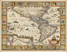 South America and America Map By Pieter van den Keere