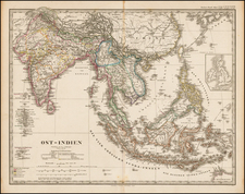 India, Southeast Asia and Philippines Map By Adolf Stieler
