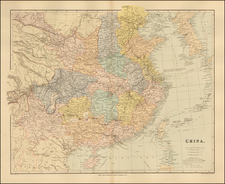 China and Korea Map By Edward Stanford