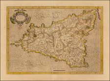 Sicily Map By  Gerard Mercator
