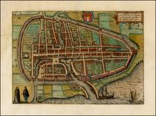 Netherlands Map By Georg Braun  &  Frans Hogenberg
