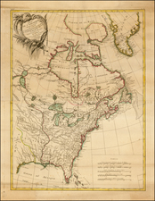 United States, North America and Canada Map By Rigobert Bonne / Jean Lattré