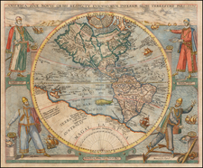 Western Hemisphere, North America, South America and America Map By Theodor De Bry