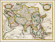 Asia and Asia Map By Melchior Tavernier / Petrus Bertius