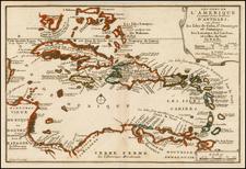 Caribbean Map By Nicolas de Fer