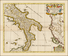 Italy and Southern Italy Map By Alexis-Hubert Jaillot