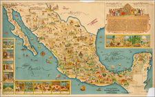 Mexico and Pictorial Maps Map By Miguel Gómez Medina