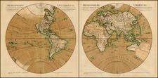 World, World, Eastern Hemisphere and Western Hemisphere Map By Guillaume De L'Isle