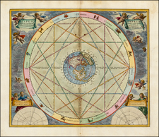 Northern Hemisphere, Polar Maps and Celestial Maps Map By Andreas Cellarius