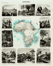 Africa and Africa Map By Friedrich Arnold Brockhaus
