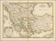 Balkans, Greece, Turkey and Turkey & Asia Minor Map By Jean Lattré