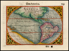 South America and America Map By Pieter Bertius