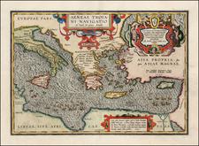 Italy, Greece, Turkey, Mediterranean, Balearic Islands and Turkey & Asia Minor Map By Abraham Ortelius