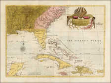 South, Southeast and Caribbean Map By Mark Catesby