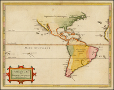 South America and America Map By Joannes De Laet