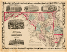 Mid-Atlantic Map By Alvin Jewett Johnson  &  Browning